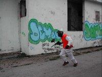 Corriendo por el escenario urbano de paintball