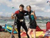 Alumnos de kite en Mallorca