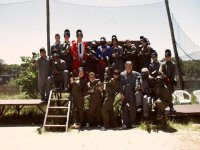 Paintball players at a farewell