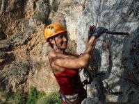 Climbing up the ferrata vertically