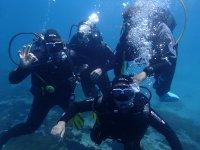 Grupo de amigos bajo el agua buceando