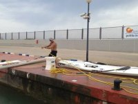 preparando los kayaks