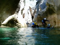 Swimming in the waters of the ravine in Aragon
