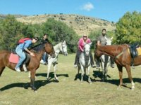 group of friends uploaded on horseback