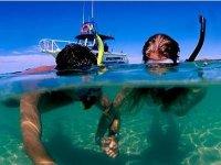 Practicing snorkeling