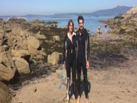 Couple ready to snorkel