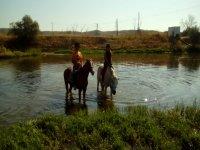 Bano en el rio a caballo