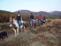 En ruta con la yegua Mapi, y los caballos Utahu, Wanaghi y Boris