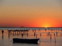 Delta del Ebro的美妙日落