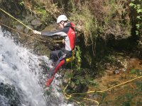 Practicing canyoning in Cantabria