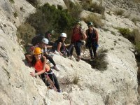 group of friends on via ferrata