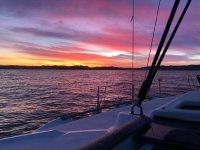 Coucher de soleil à Gijon depuis le bateau