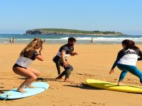 Surf training on the shore on the boards