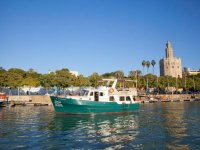 Boat crossing the Guadalquivier