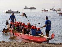 Kids in the canoe