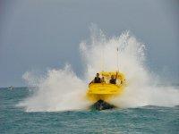 Jet boat accelerating in the sea