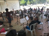 Rehearsing in the Aljucen music camp