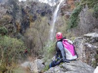 Looking at the waterfall of the Rejia