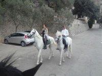 enjoying a ride on white horses