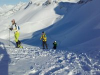 Ascending through the reserve in Leon with snowshoes