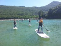 grupo practicando paddle surf