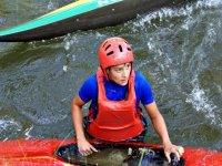 Pushing the kayak