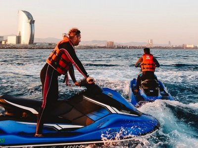 Jet skiing route in Port Olimpic 20 minutes
