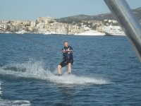 Wakeboarding from boat in Palma