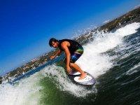 Boy on wakesurf board