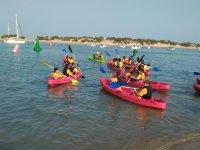 Grupo de kayaks en la Costa de la Luz