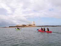 Kayak triplaza en el Castillo de Sancti Petri