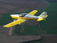 An ultralight aircraft in the air