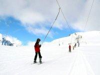 Taking the ski lift