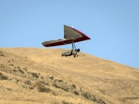 Flying over the hillside