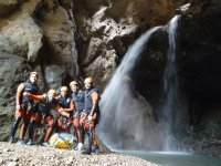 Canyoning by the waterfall