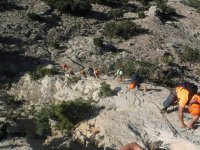 Climbing the ferrata in group