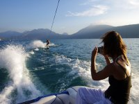 Stand on a wakesurf board