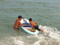 Boardign the surfboard