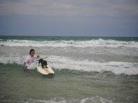 nuestra perrita surfeando