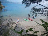 En la orilla con las tablas de paddle surf