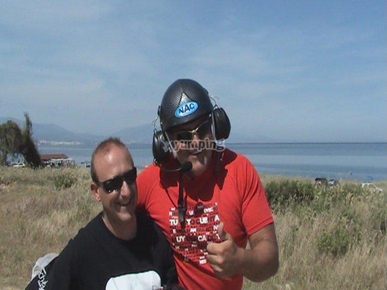 Con el instructor del vuelo