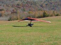 A hang glider landing