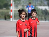 Alumnos del campus de futbol en Las Tablas