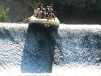 Jump fro the rafting raft