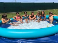 Pool of the surf camp in Villaviciosa
