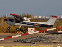 A blue and white light aircraft