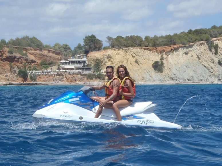Route by a jet ski in Ibiza