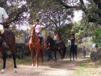A caballo bajo los arboles