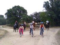En bicicleta por delante de los caballos