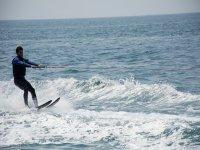 Practicing water ski